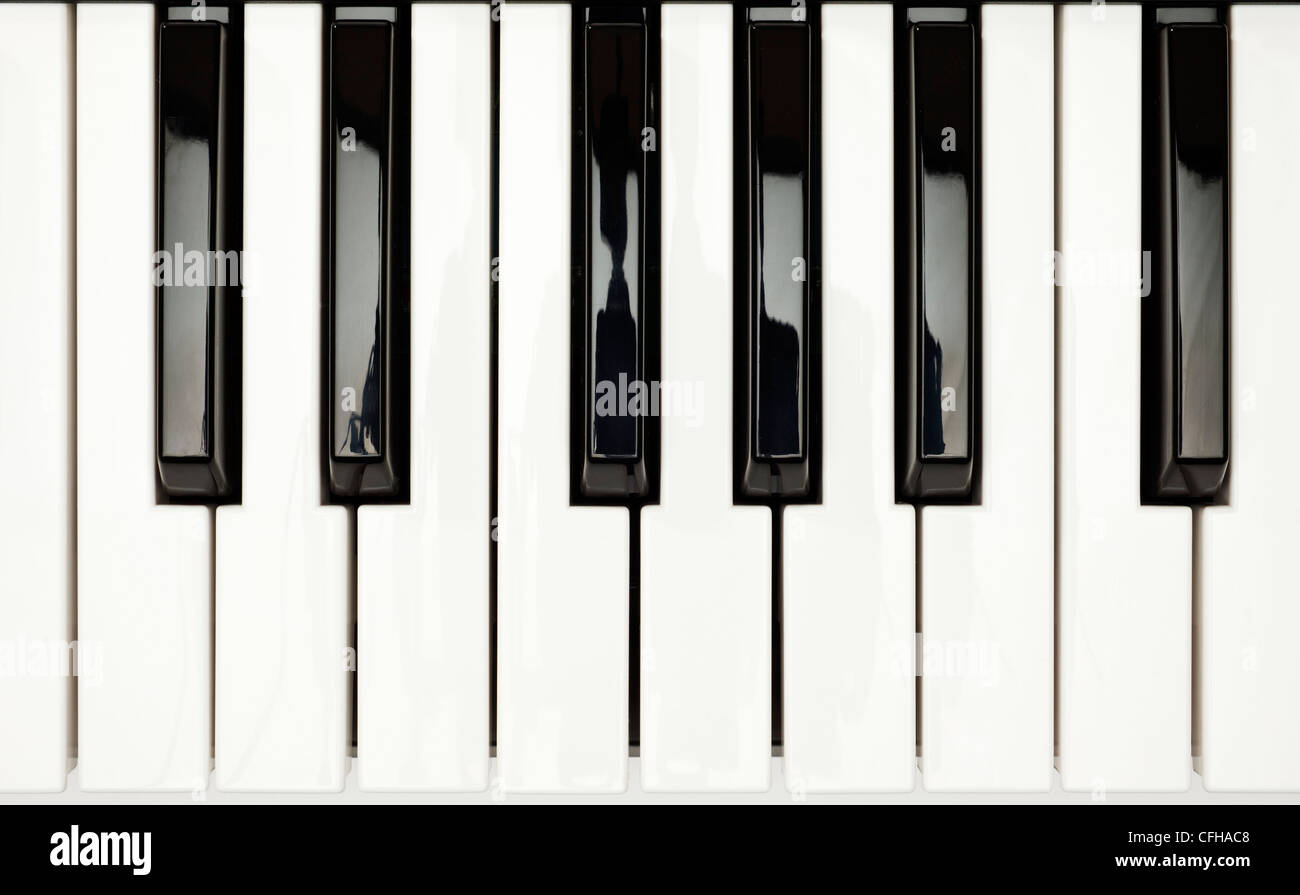 Piano keys showing one full octave - Stock Image