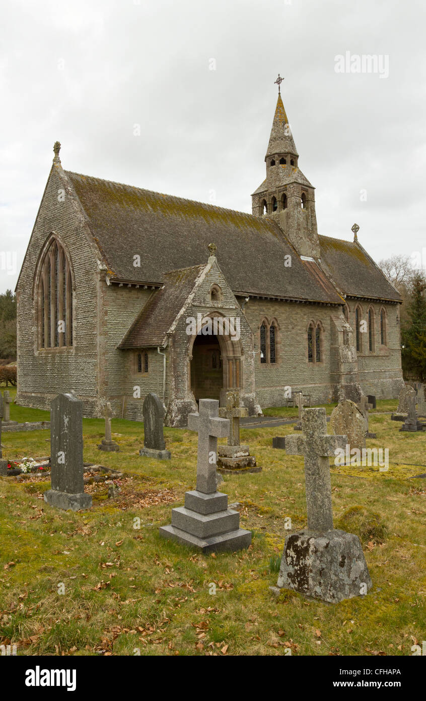St John the Divine Church in the village of Cwmbach Llechrhyd, Powys Wales. - Stock Image