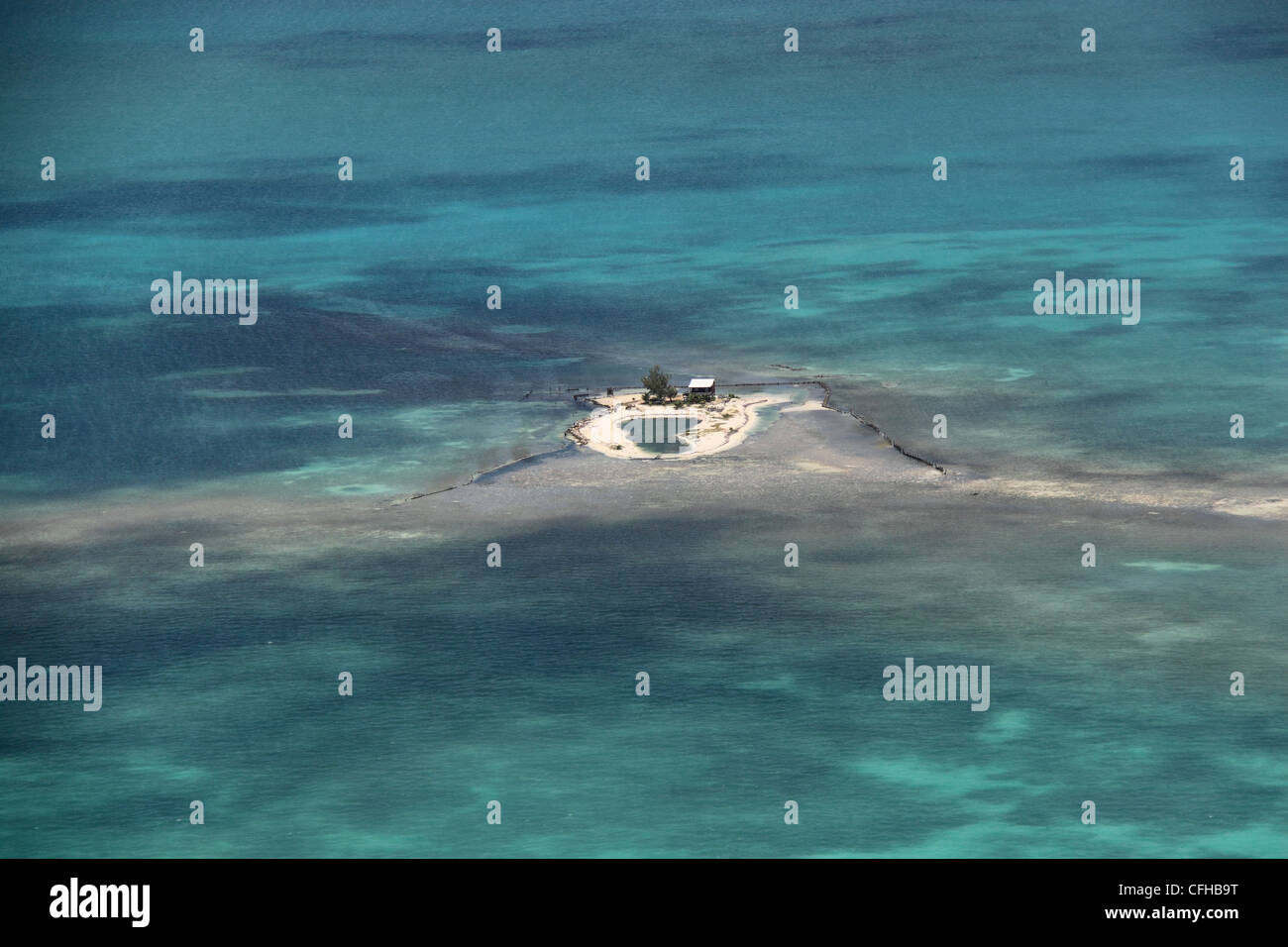 A private Caribbean desert island on the Belize Barrier Reef, Belize, Caribbean, Central America - Stock Image