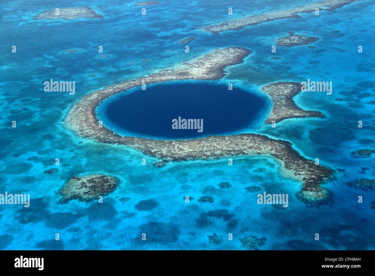 Great Blue Hole, a collapsed underwater cave system, Lighthouse Reef, Belize Barrier Reef, Belize, Caribbean, Central - Stock Image