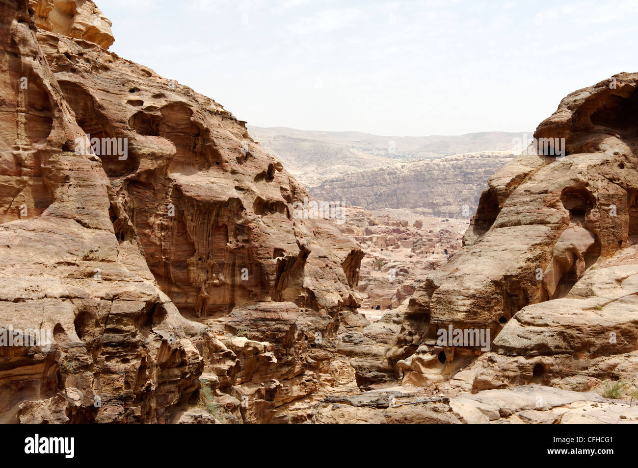 Petra. Jordan. View of the spectacular rock formations and dramatic and rugged landscape of the vast ancient rose Stock Photo