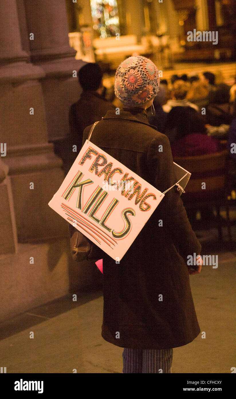 New Yorkers rally at Saint John The Divine Church in NYC against hydraulic fracturing (fracking) in NY State. - Stock Image