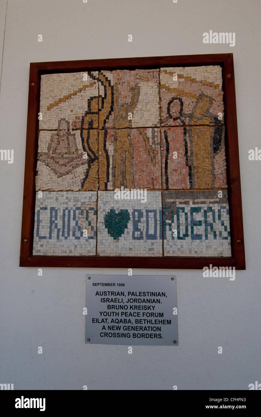 Cross Borders mosaic at the Israel-Jordan Wadi Araba Crossing/South Border - Stock Image
