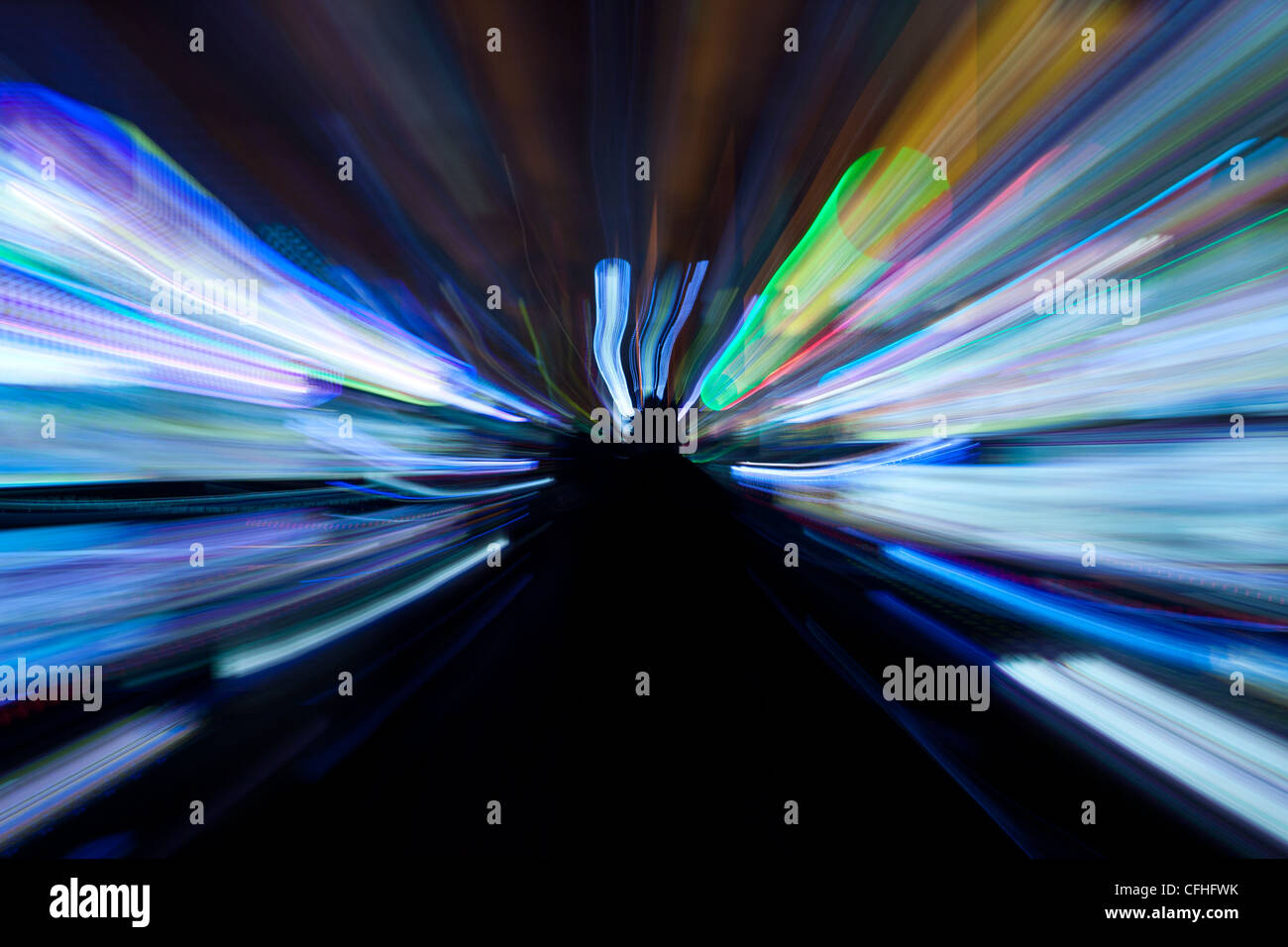 light trails from slot machines in casino,las vegas,usa - Stock Image