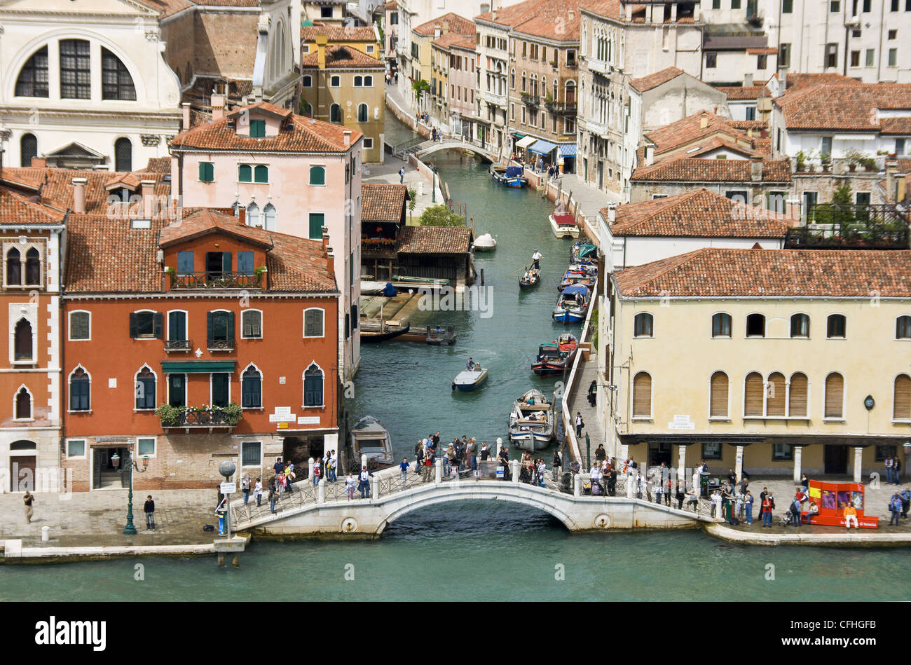 View of the canal and Ponte Longo in Venice from a cruiseship - Stock Image