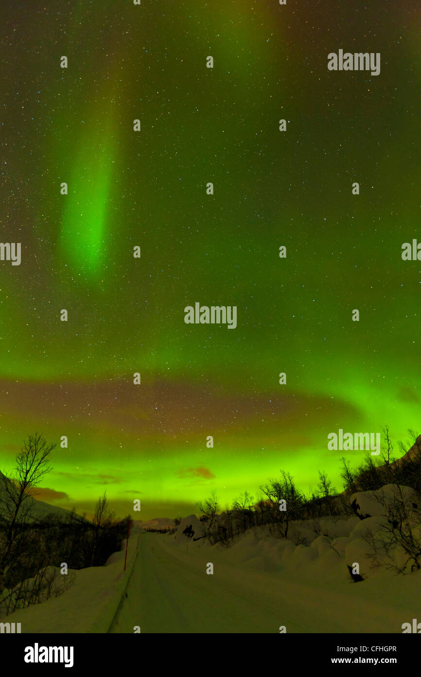 Aurora borealis or northern lights seen over a snow covered road, Troms, North Norway, Scandinavia Europe - Stock Image