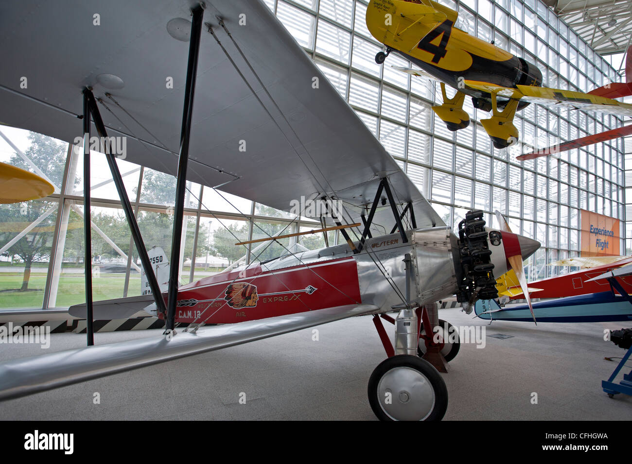 1927 Stearman C3B and 1931 Gee Bee Model Z Super Sporter (reproduction). Museum of Flight. Seattle. USA - Stock Image