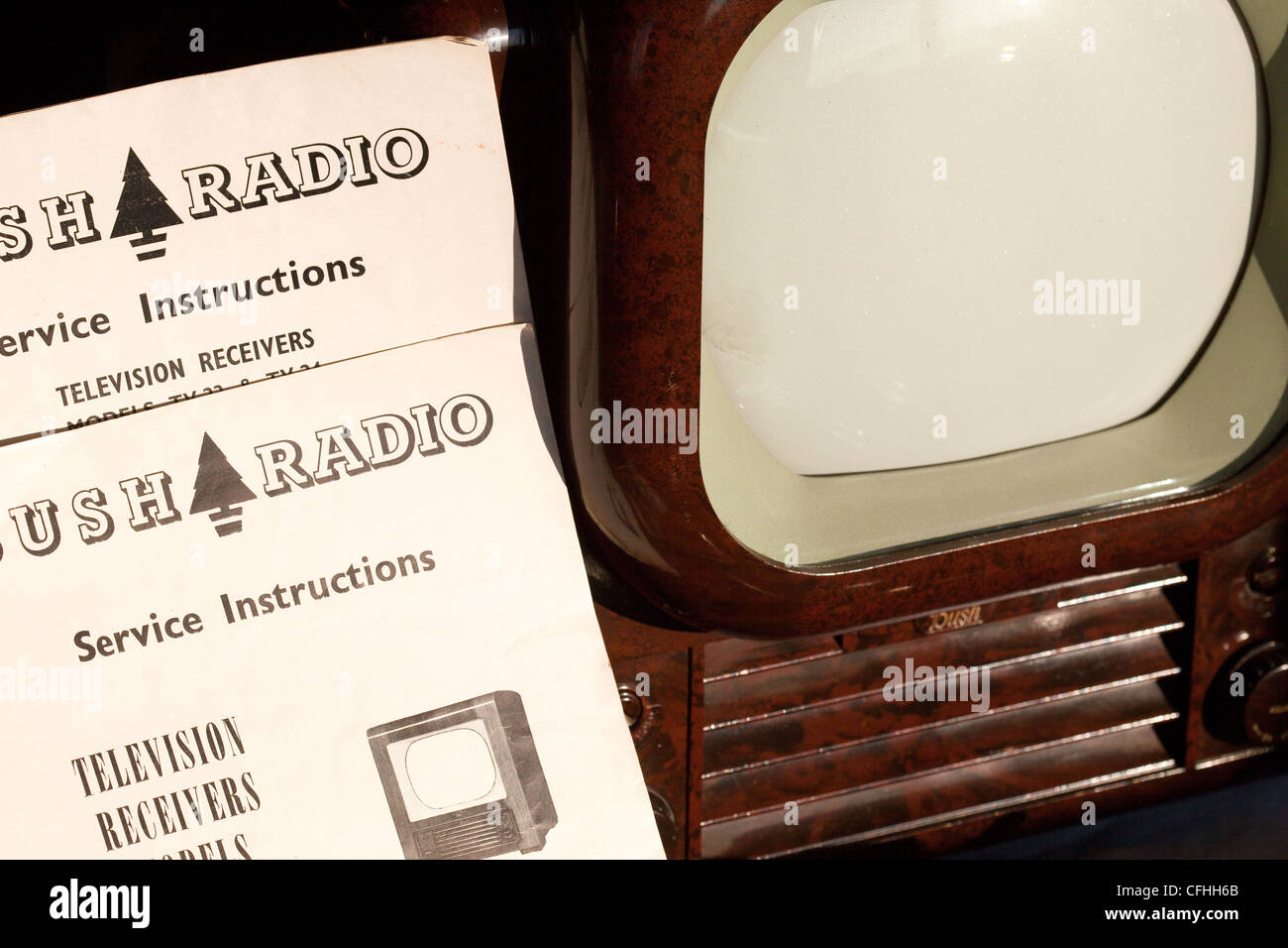 Bush TV22 from 1950, classic, Bakelite TV, on sale as auction lot along with instruction manual and circuit diagrams.Montrose - Stock Image