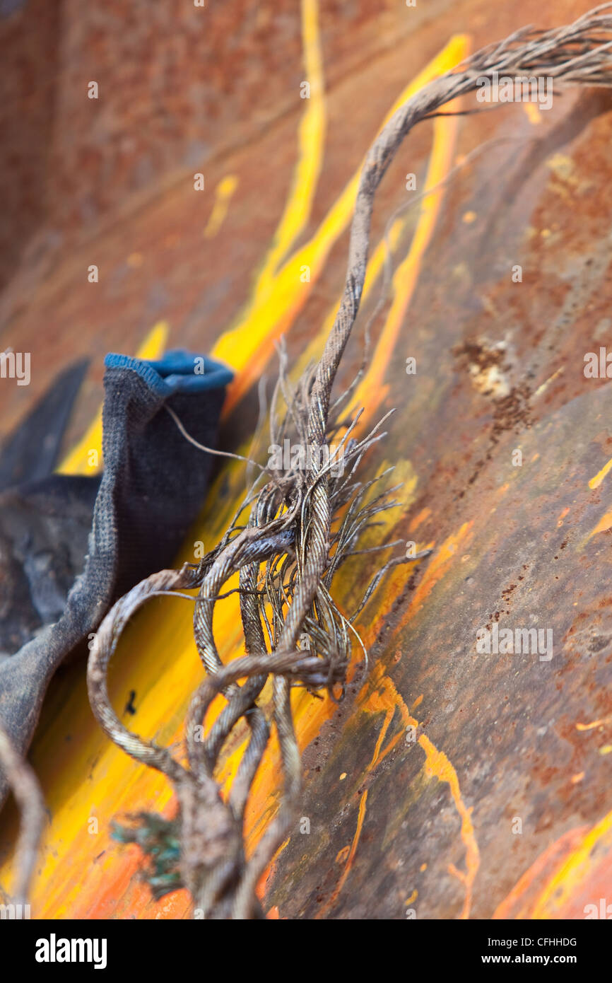 Close up of a corroded or broken wire rope left in waste skips Stock ...