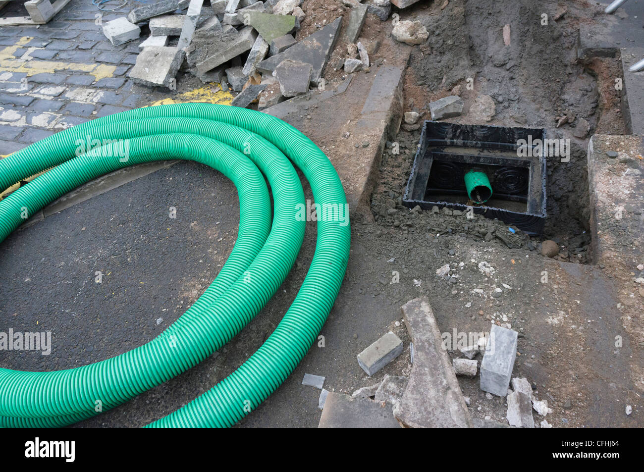 Plastic Underground Pipe Stock Photos Electrical Wire Flexible Water Services Excavation To Install New Sewerage Pipes In A Scottish Town