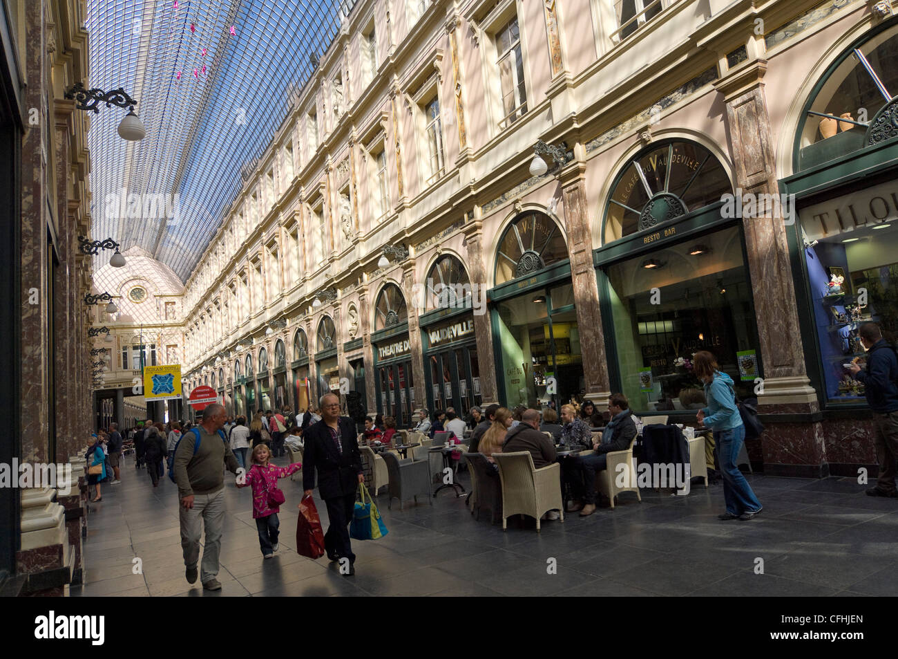 Horizontal wide angle inside the amazing covered arcade of the Galeries Royal St Hubert in central Brussels, Belgium Stock Photo