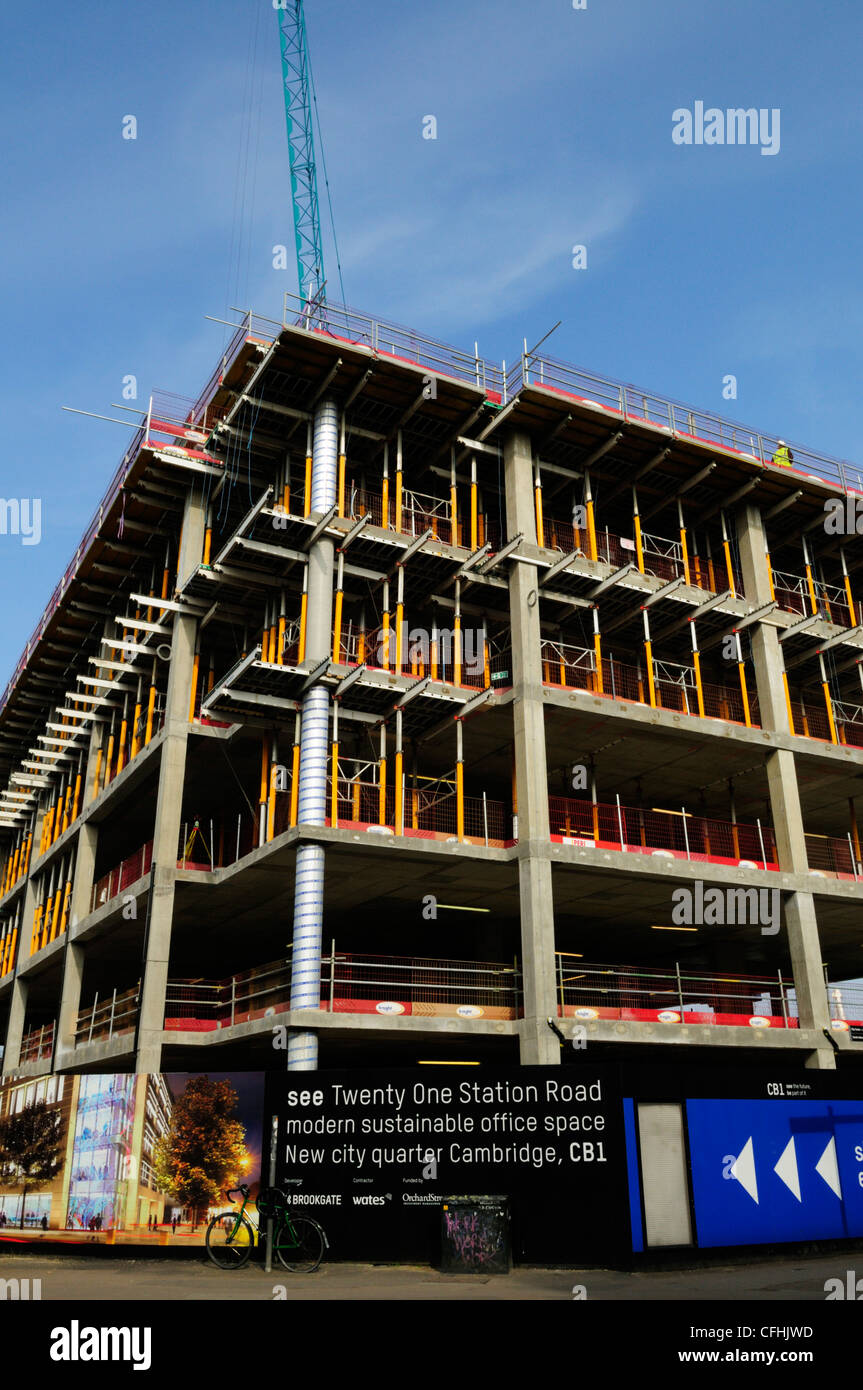 New Office Space Building Site, Station Road, Cambridge, England, UK - Stock Image