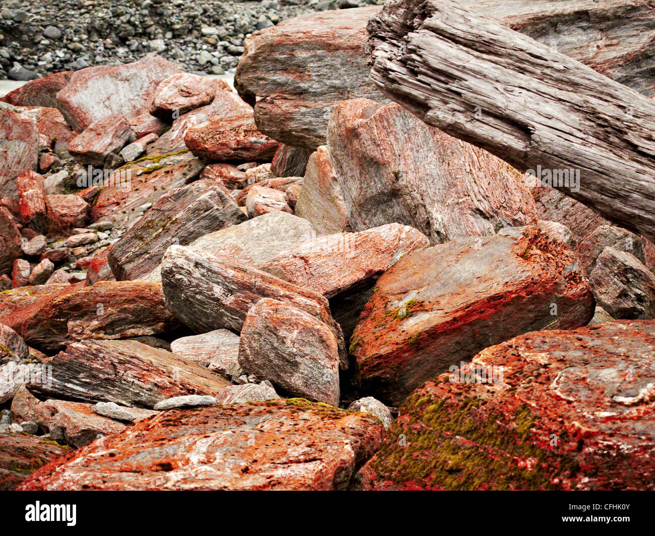 Looking in detail at the rocks from the surrounding area of Fox glacier new Zealand - Stock Image
