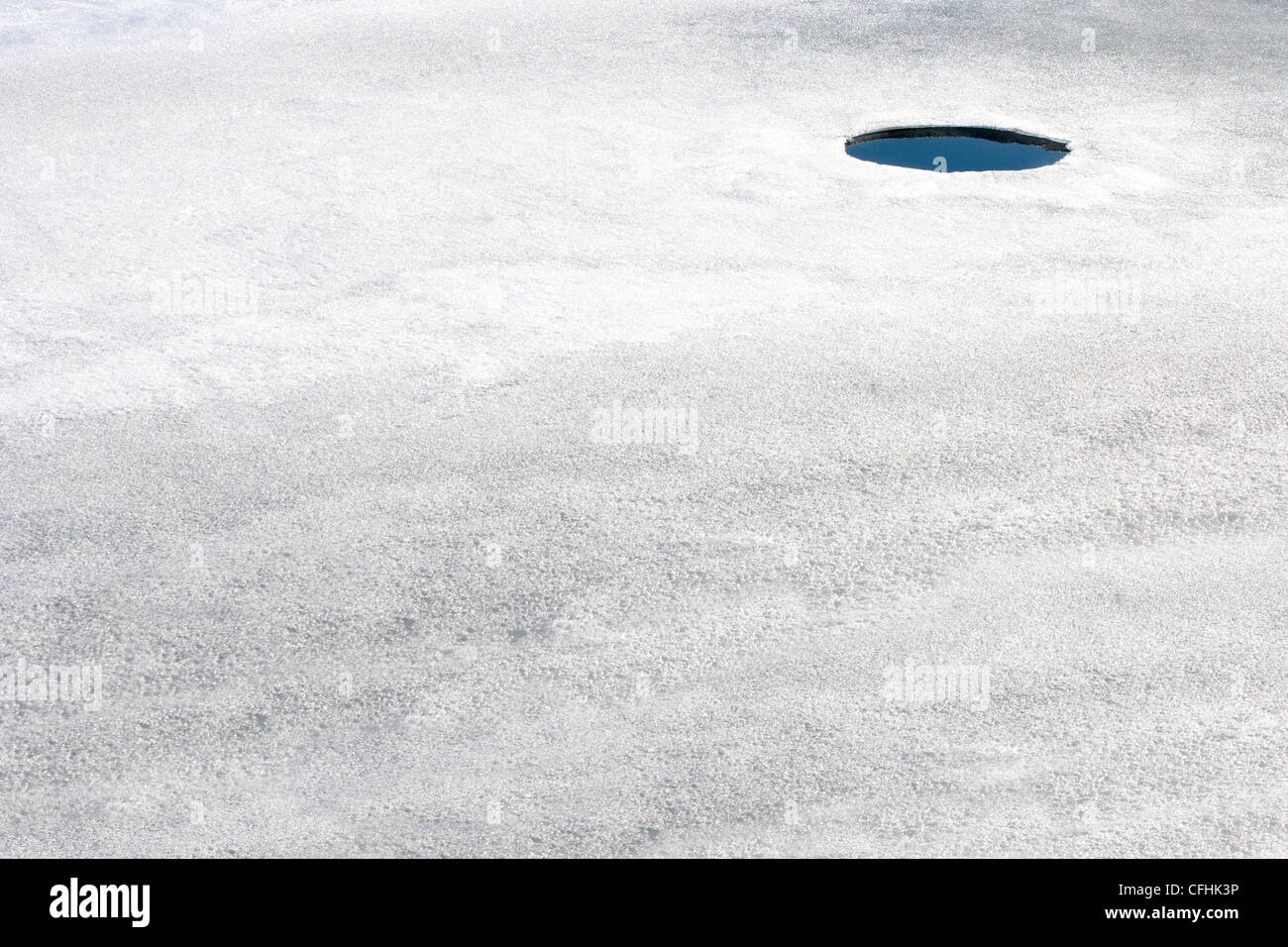 A small hole in thin ice. - Stock Image