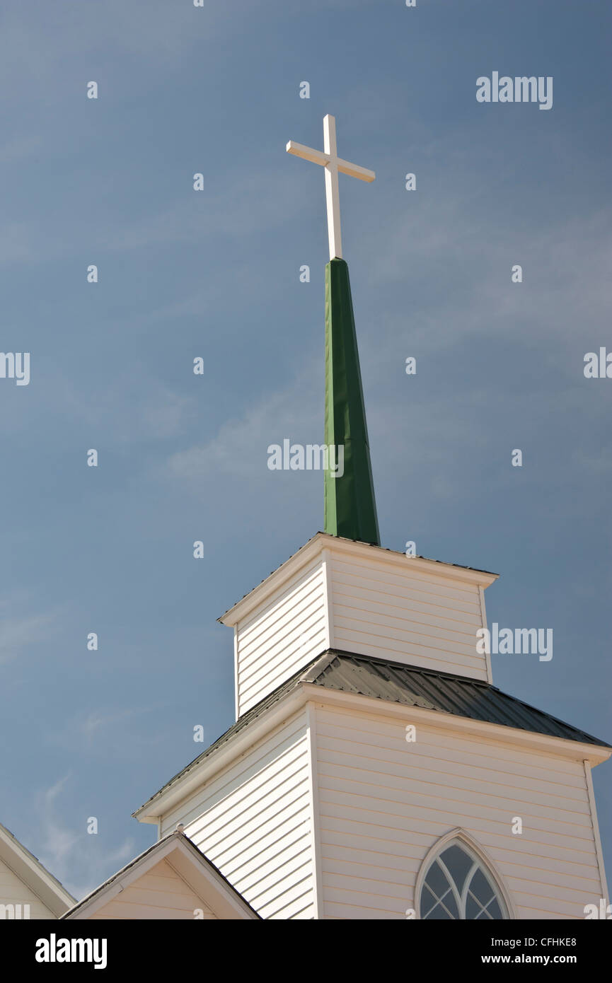Cross On Top Of Sacred Heart Catholic Church In Inverness Montana