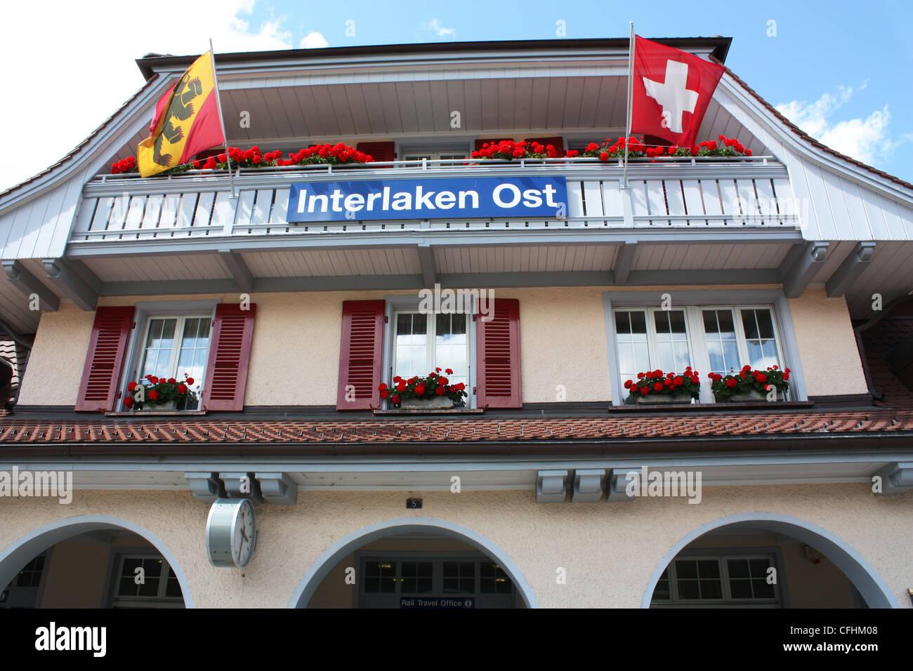 Interlaken Ost train station ticket office in Switzerland - Stock Image