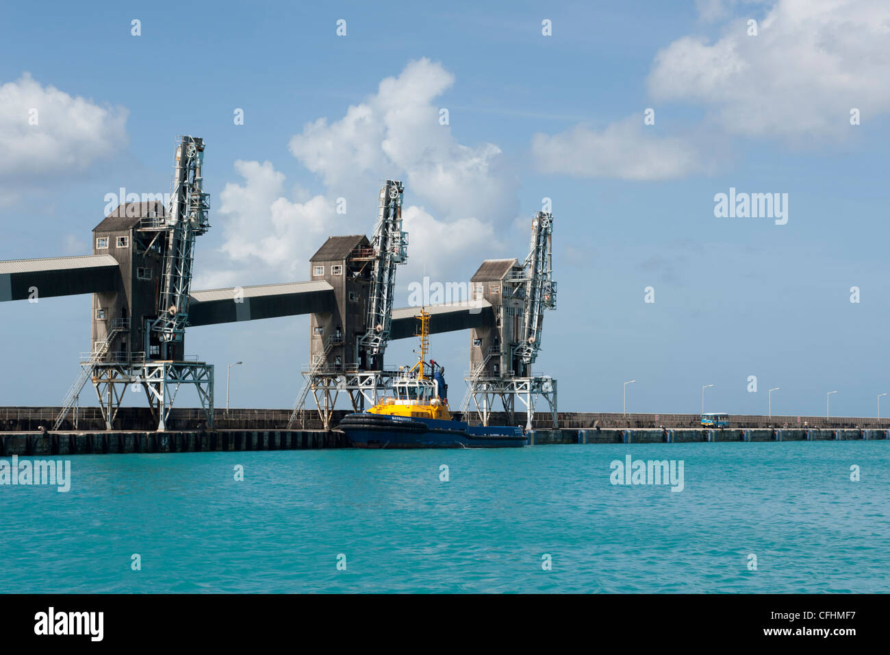 Loading and storage units for sugar cane in Bridgetown harbour, Barbados, The Caribbean - Stock Image