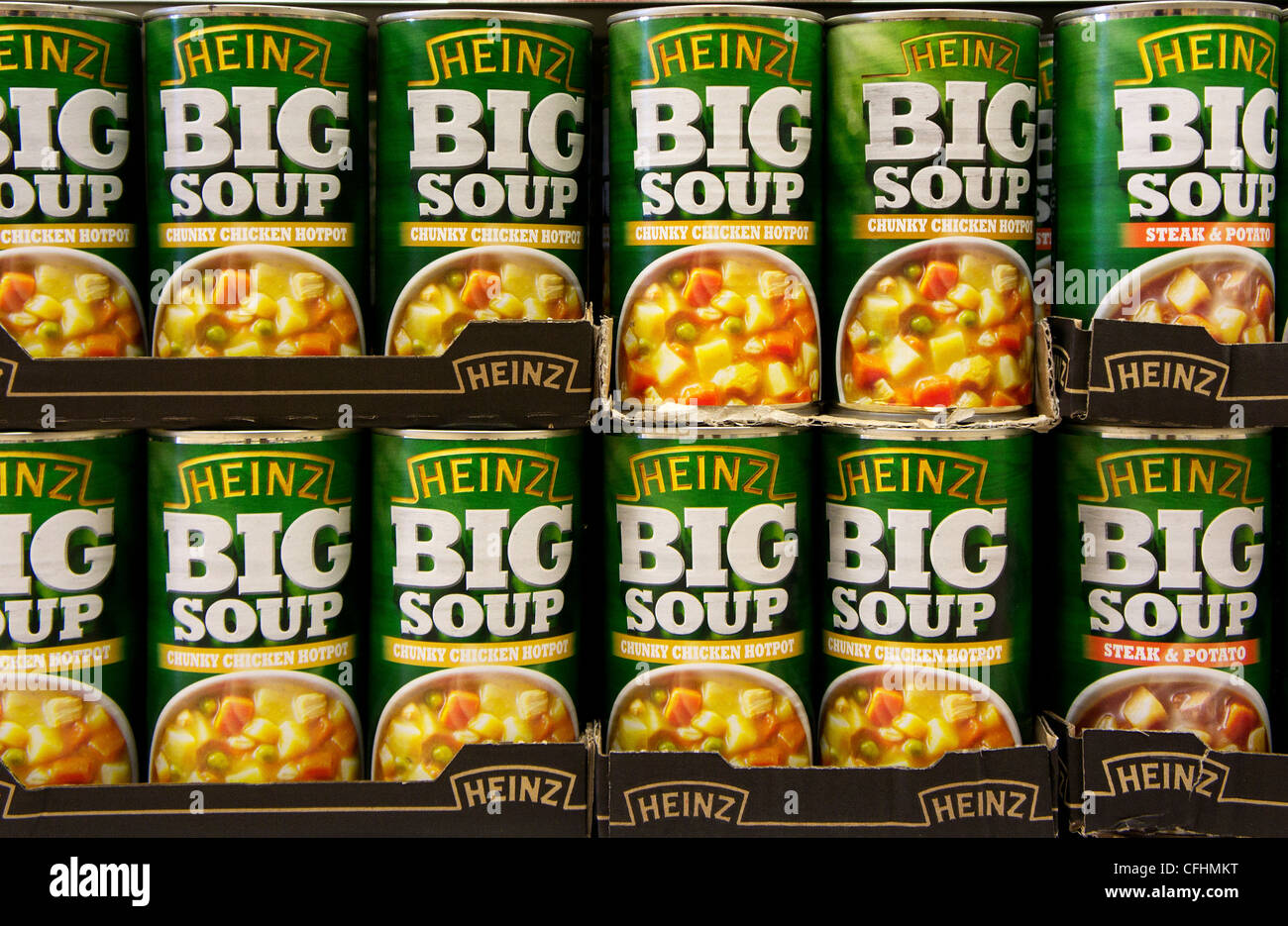 Tins of Heinz Big Soup - Stock Image