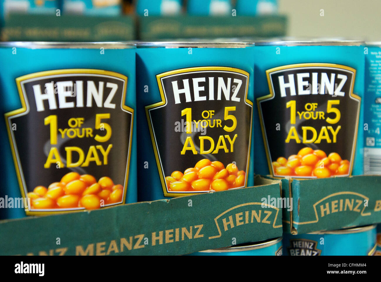 Tins of Heinz Baked Beans - Stock Image