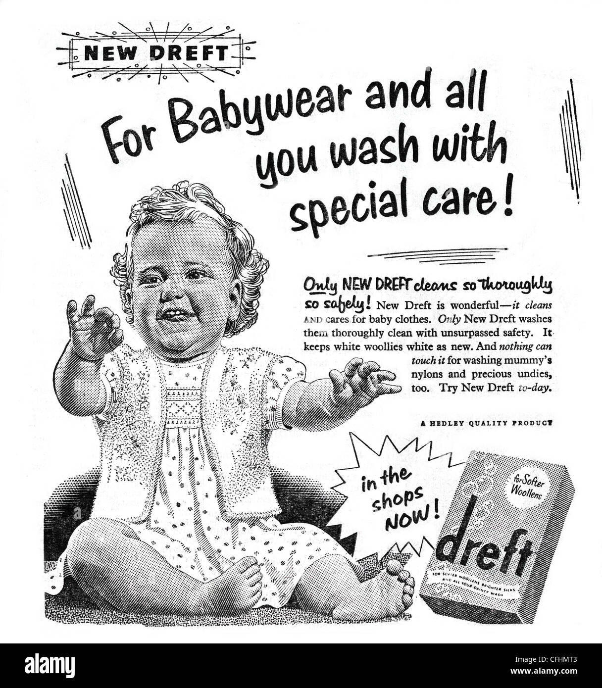 Dreft washing powder advert from 1954, a brand owned by Proctor & Gamble - Stock Image