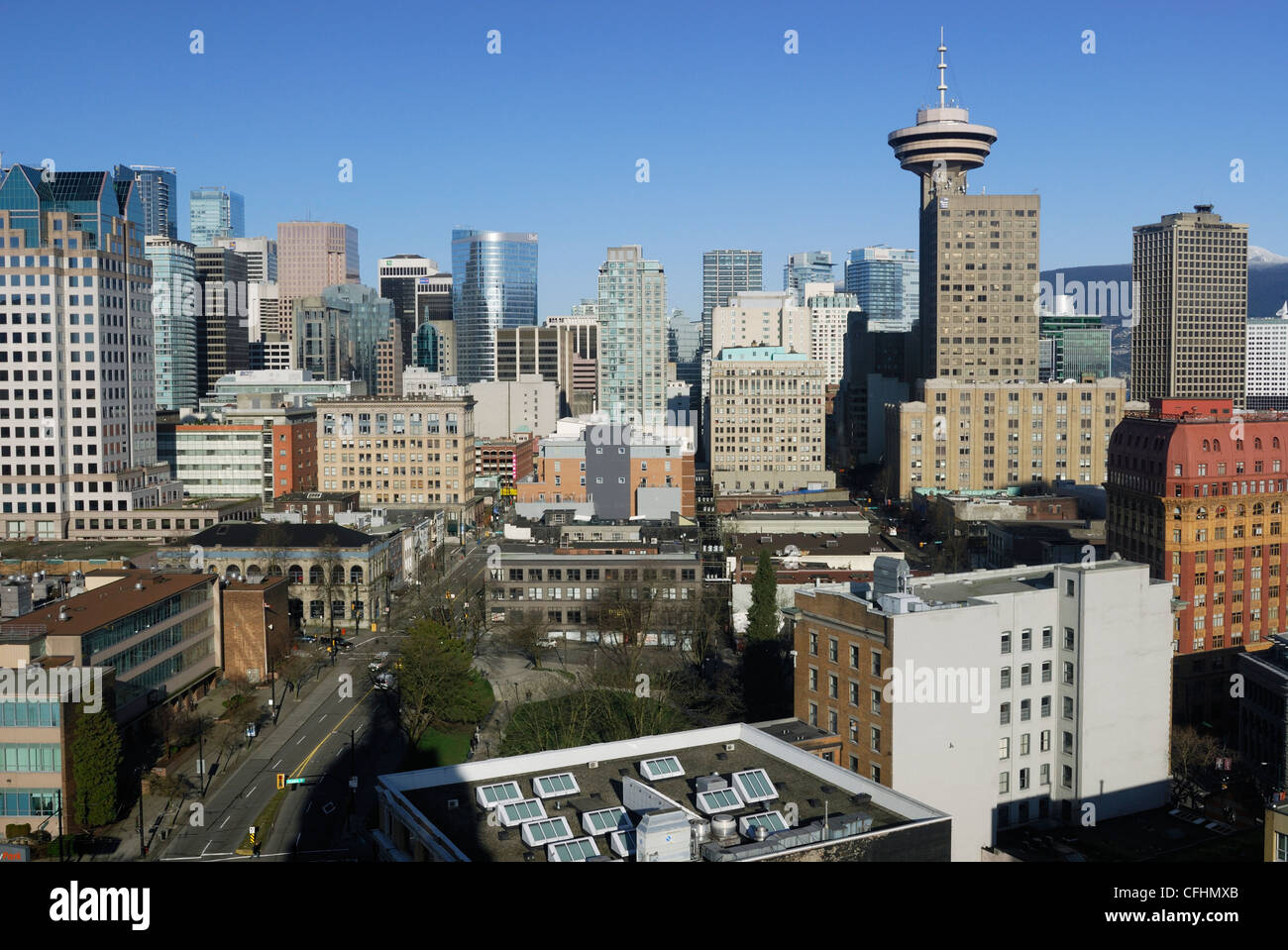 Vancouver  as seen looking west towards the downtown core, with its mixture of old and new buildings. Stock Photo