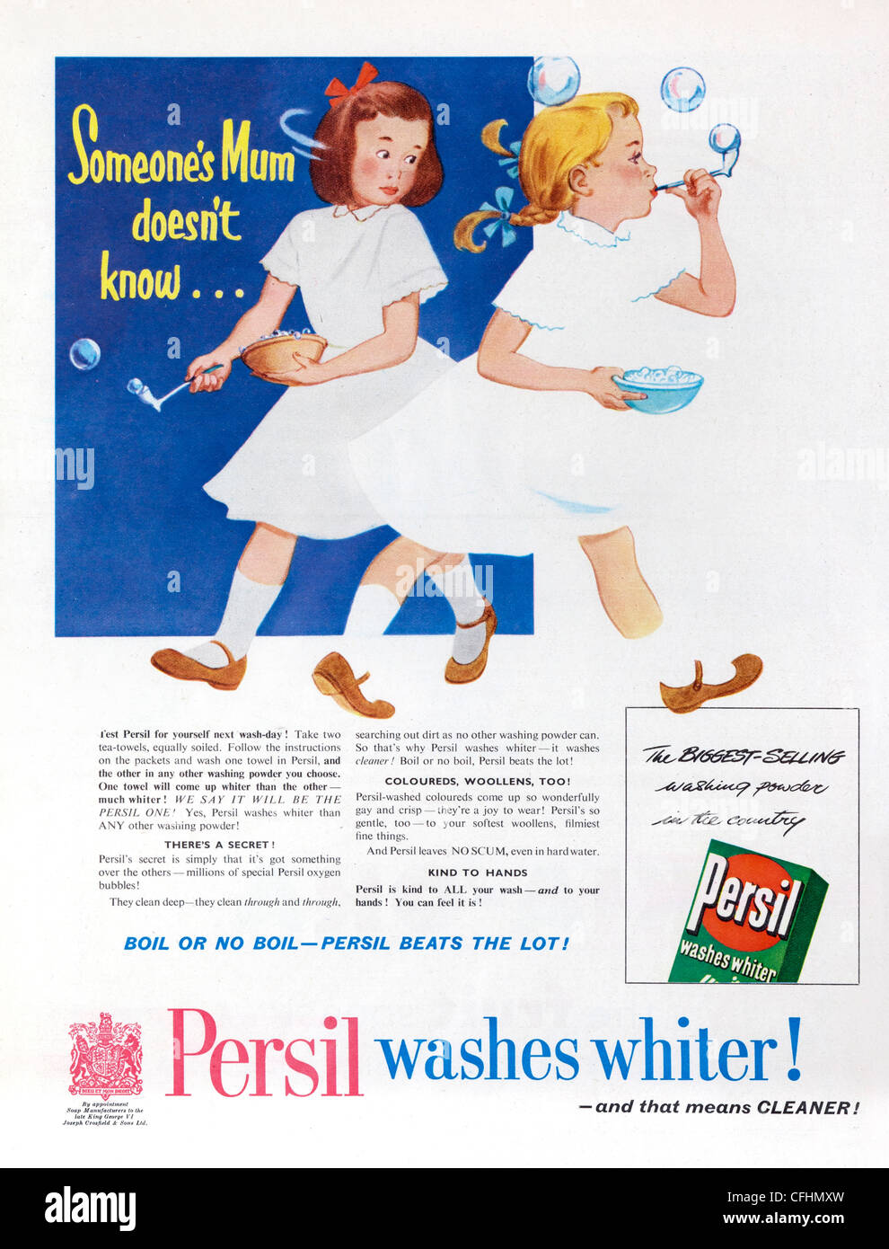 Persil washing powder advert from 1954, marketed by both Henkel AG and Unilever - Stock Image