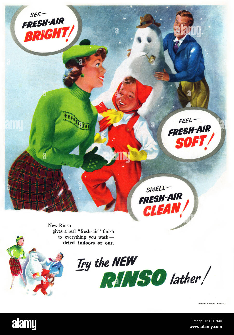 Rinso washing powder advert from 1952, a brand owned by Unilever (Lever Brothers) - Stock Image