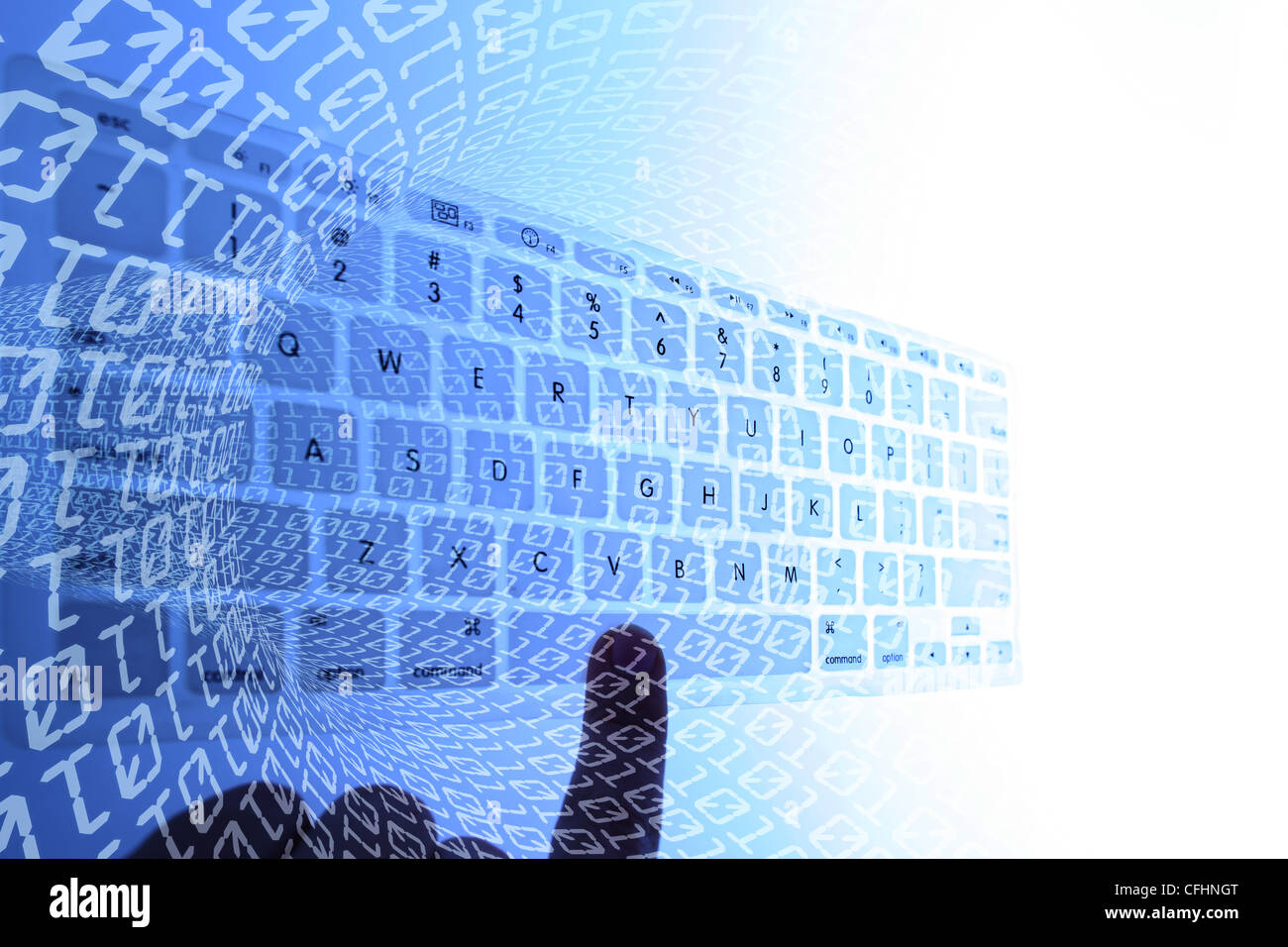 Conceptual image for data inetrnet and binary background - Stock Image