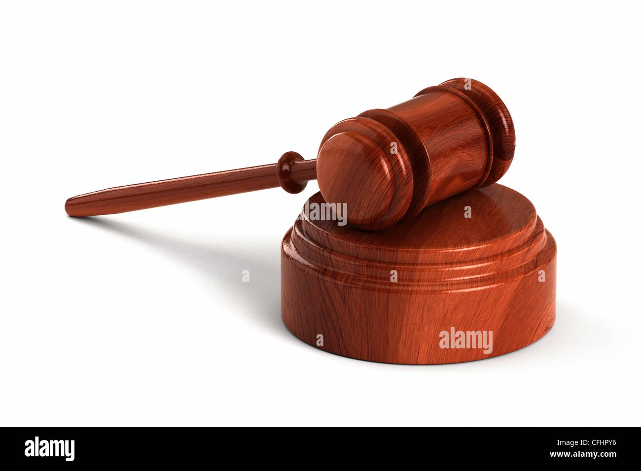 Wooden gavel with sound block - Stock Image