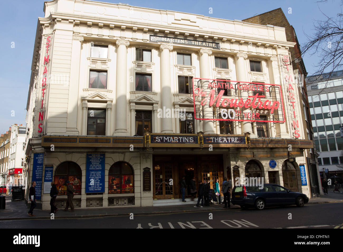 St Martins Theatre, Londons West End, home of the Moustrap, a play by Agatha Christie.  London, England, UK - Stock Image