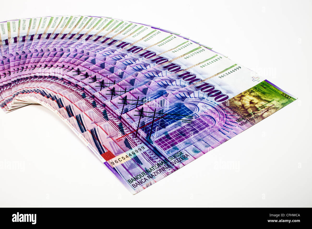 Swiss banknotes, several thousand of Swiss Francs, cash, paper money Stock Photo