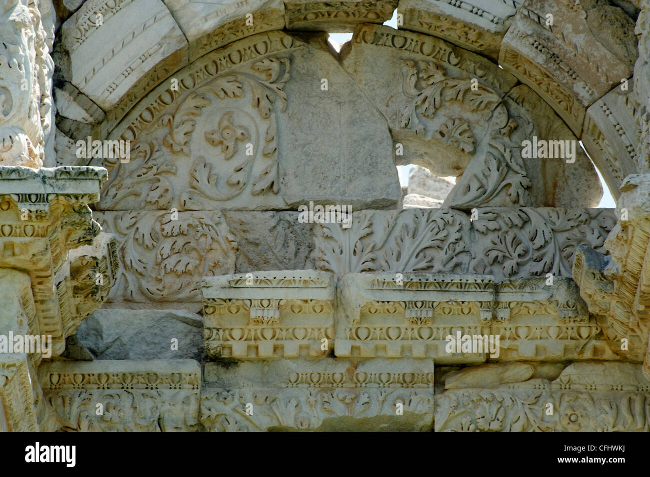 Aphrodisias. Turkey. Close up view of the western pediment of the Tetrapylon monumental gate dating from the 2nd - Stock Image
