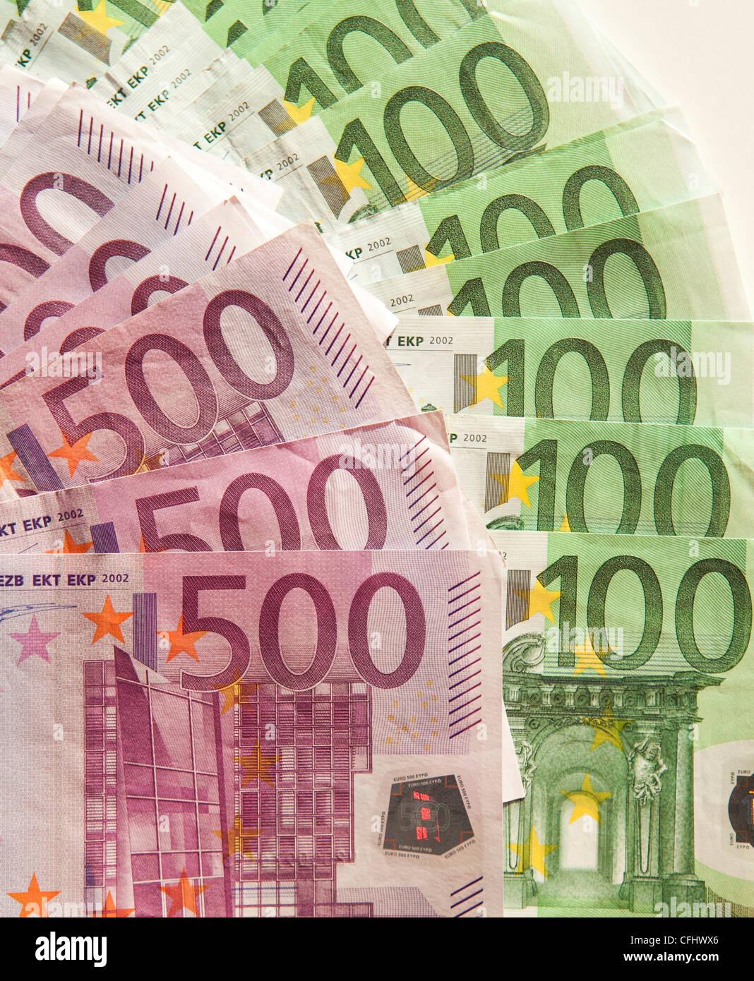 euro money cash five hundred europa dinero dolar - Stock Image