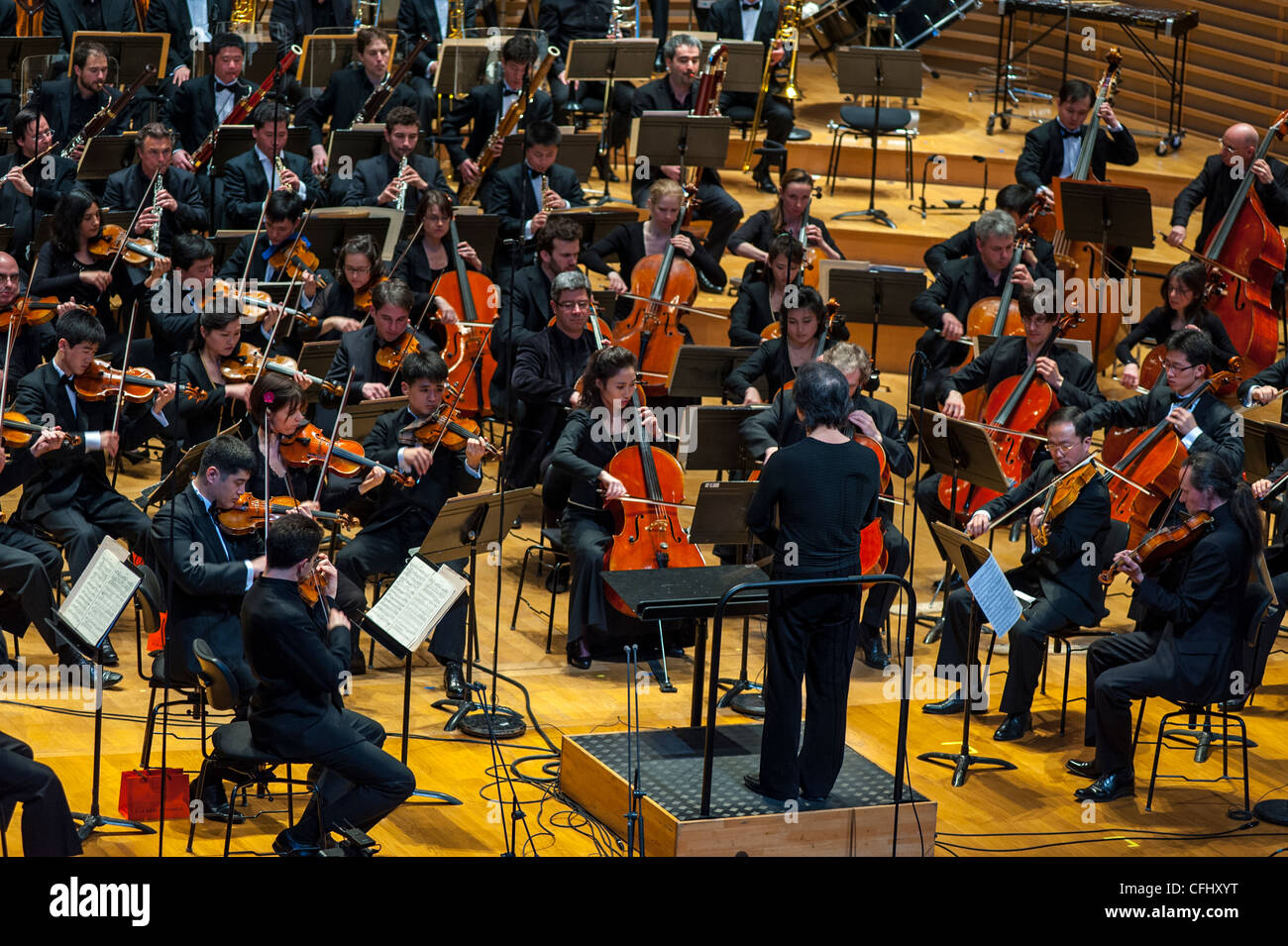 Paris, France, North Korean Symphony Orchestra 'the Unhasu Orchestra' together with 'Radio France Philharmonic - Stock Image