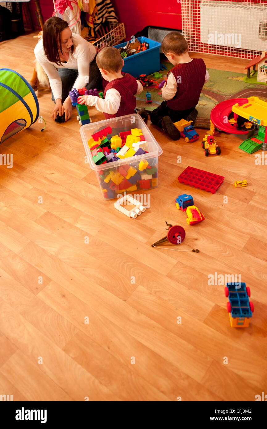 children playing at a pre school playgroup Cylch Meithryn - the welsh language nursery school kindergarten wales - Stock Image