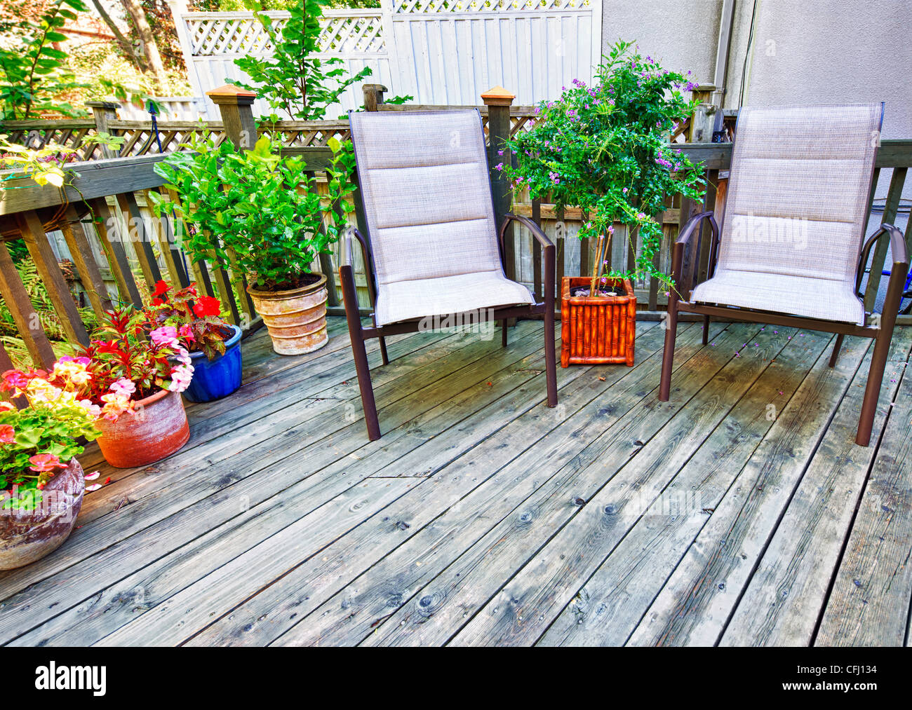 Chairs and plants on wooden deck in backyard of home Stock Photo