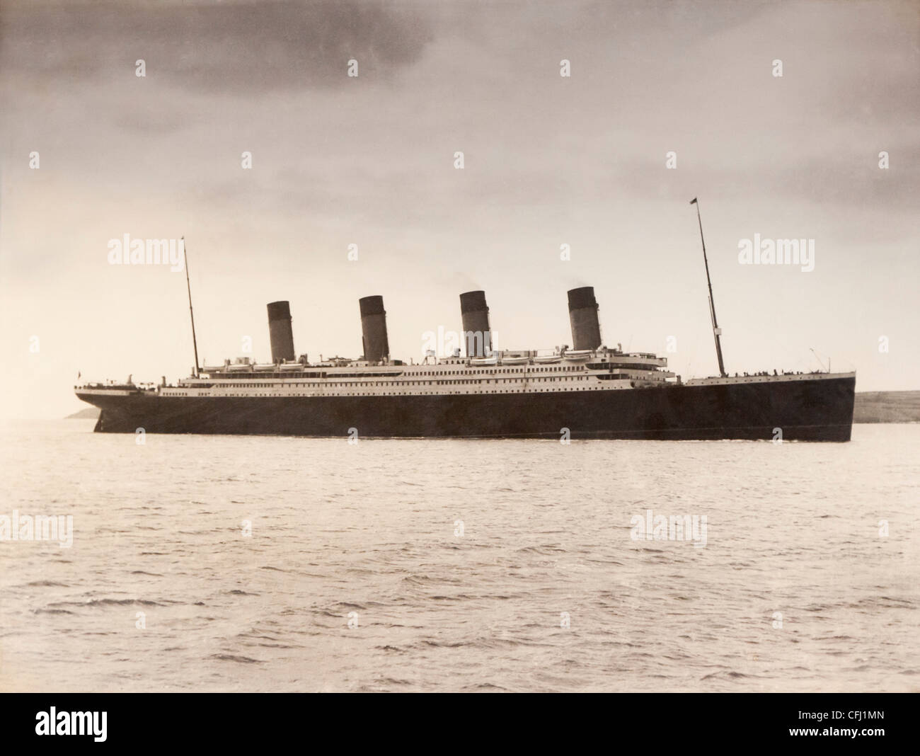 RMS Titanic of the White Star Line which sank at 2 20 AM Monday morning April 15, 1912 after hitting iceberg in - Stock Image