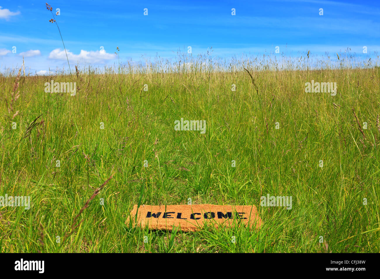 Photo of a welcome doormat in a grass meadow on a bright sunny day with blue sky and sunshine. - Stock Image