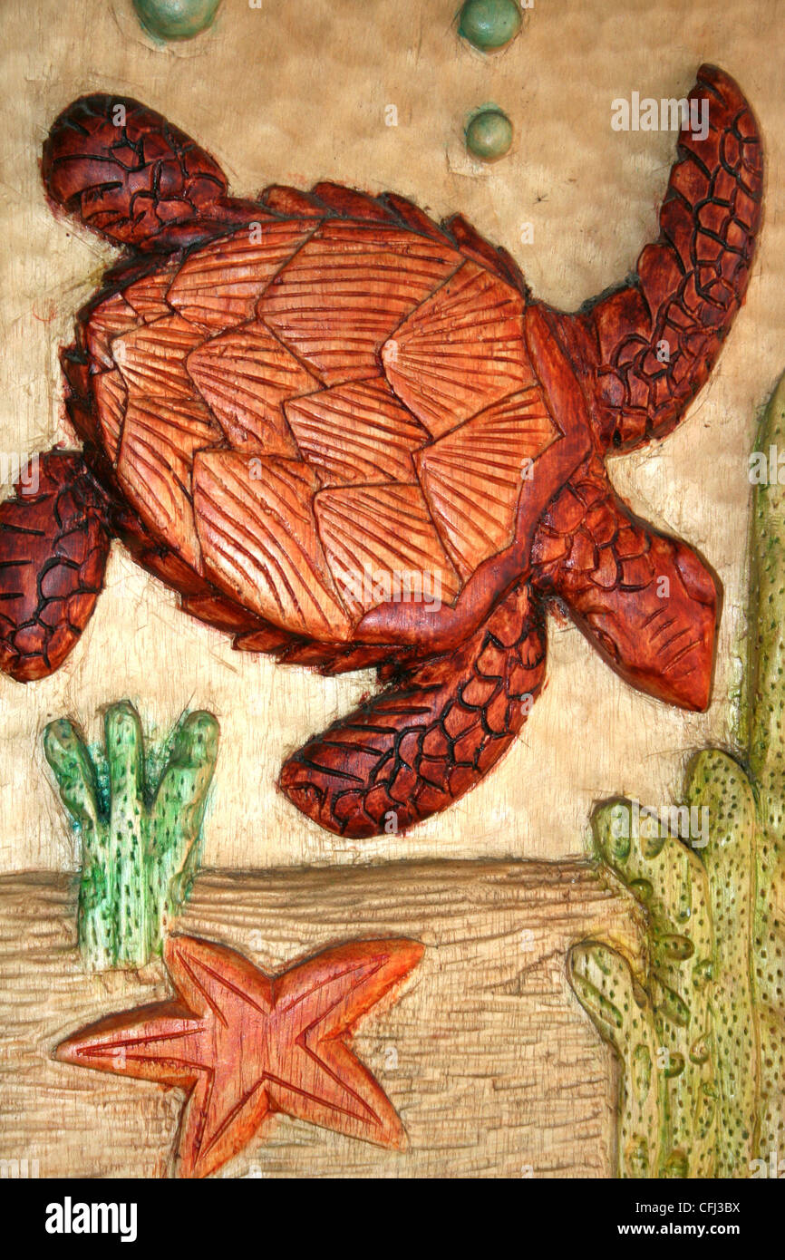 Turtle Carving From Costa Rica - Stock Image