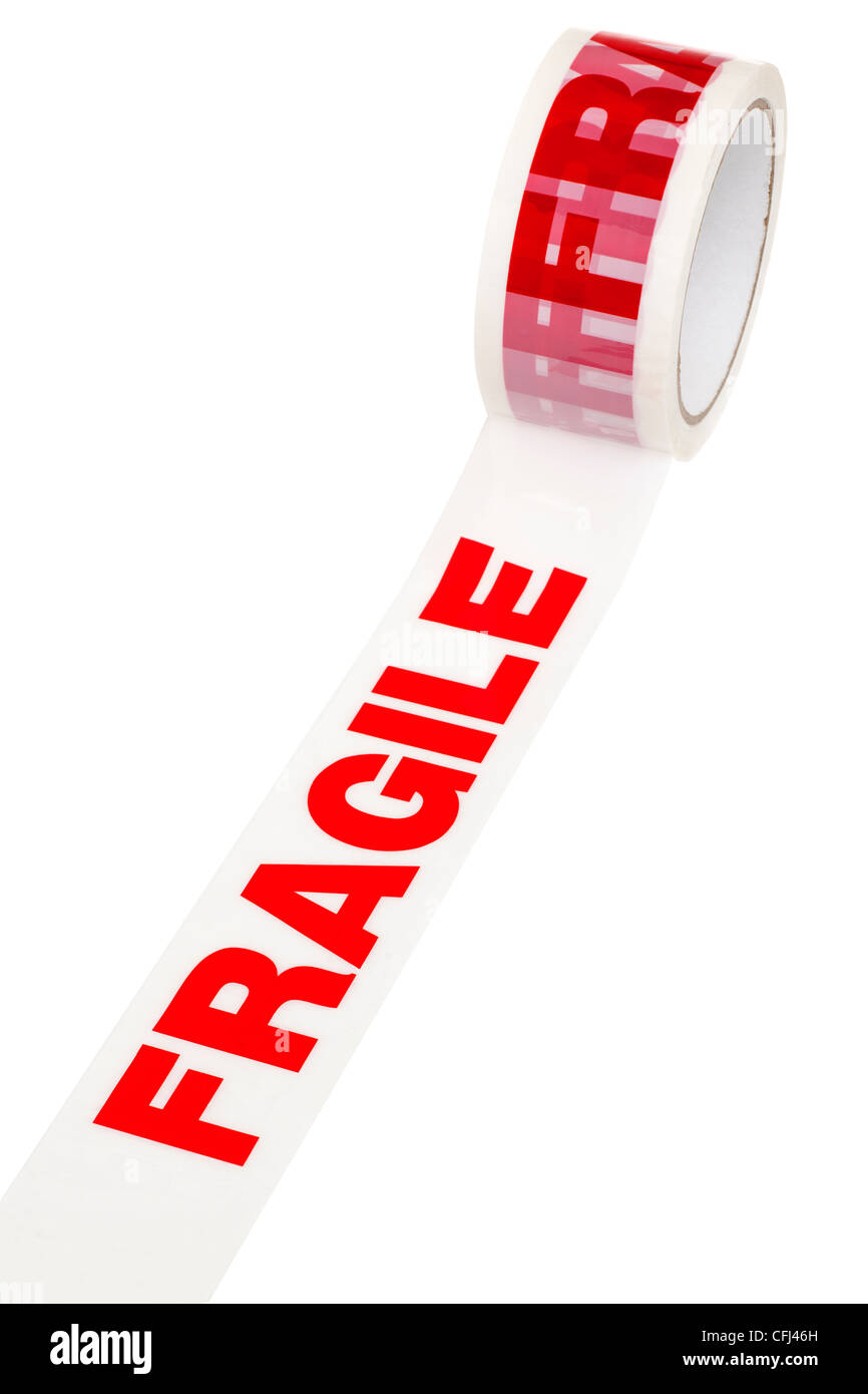 Roll of Fragile tape - Stock Image