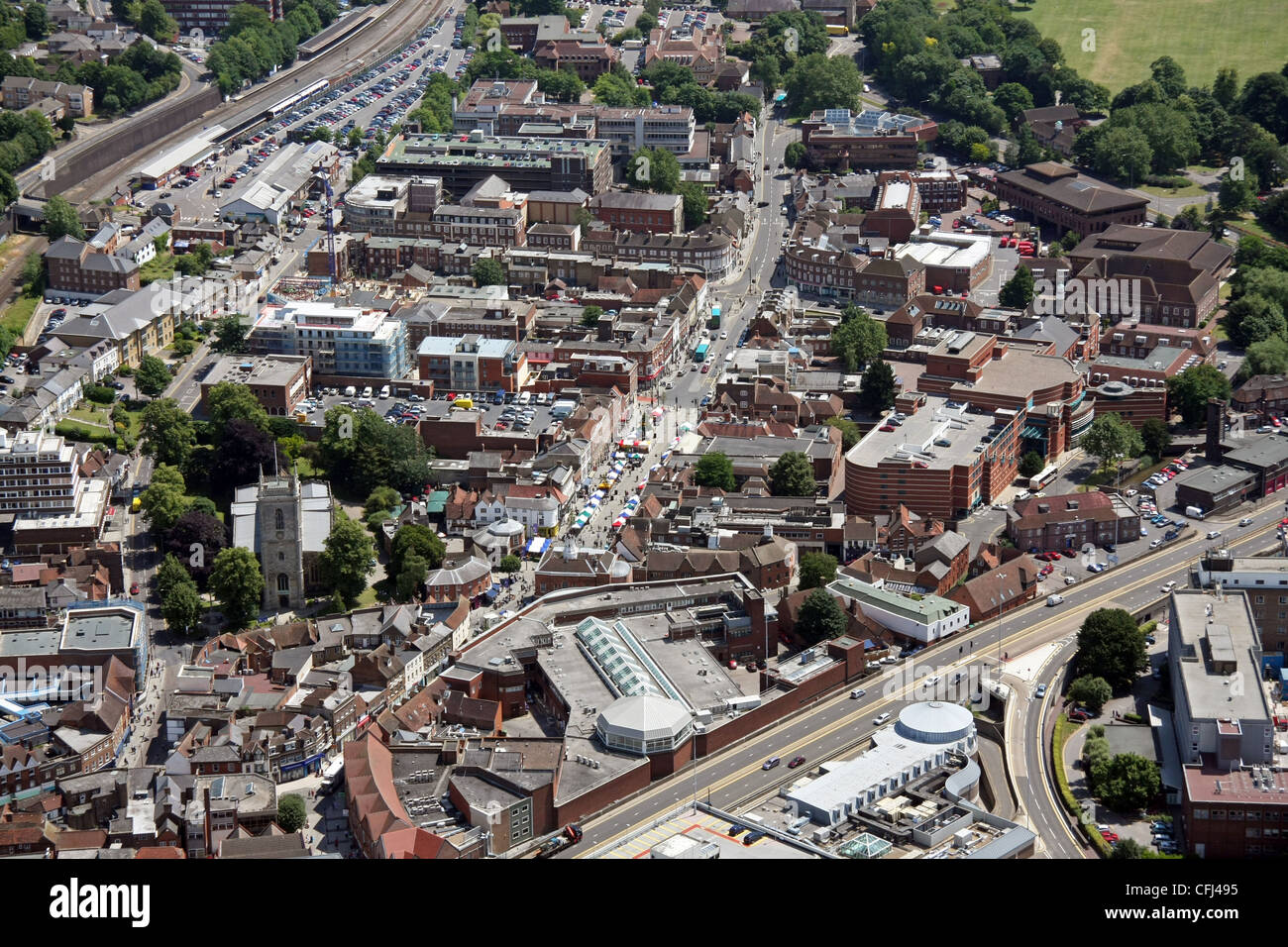 aerial view of High Wycombe main shopping street - Stock Image