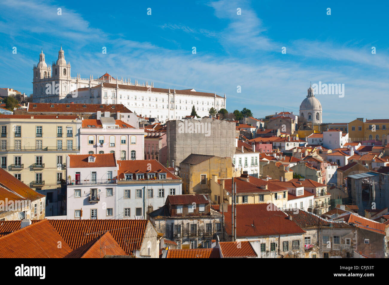 Alfama district with Sao Vicente de Fora church central Lisbon Portugal Europe - Stock Image