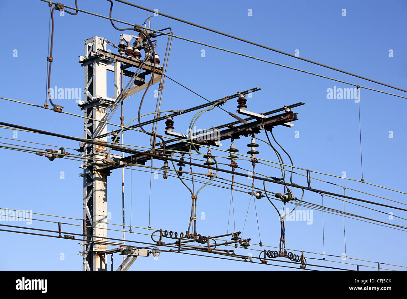 Overhead power-supply for electric trains, France. Stock Photo