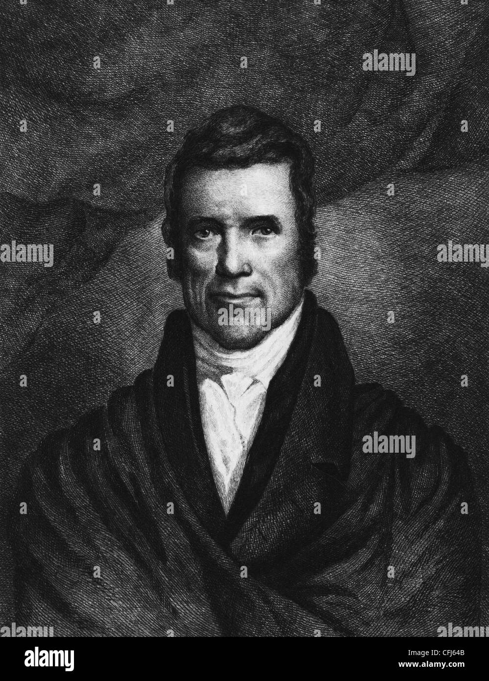 Vintage portrait print of American statesman and judge John Marshall (1755 - 1835) - the fourth US Chief Justice - Stock Image