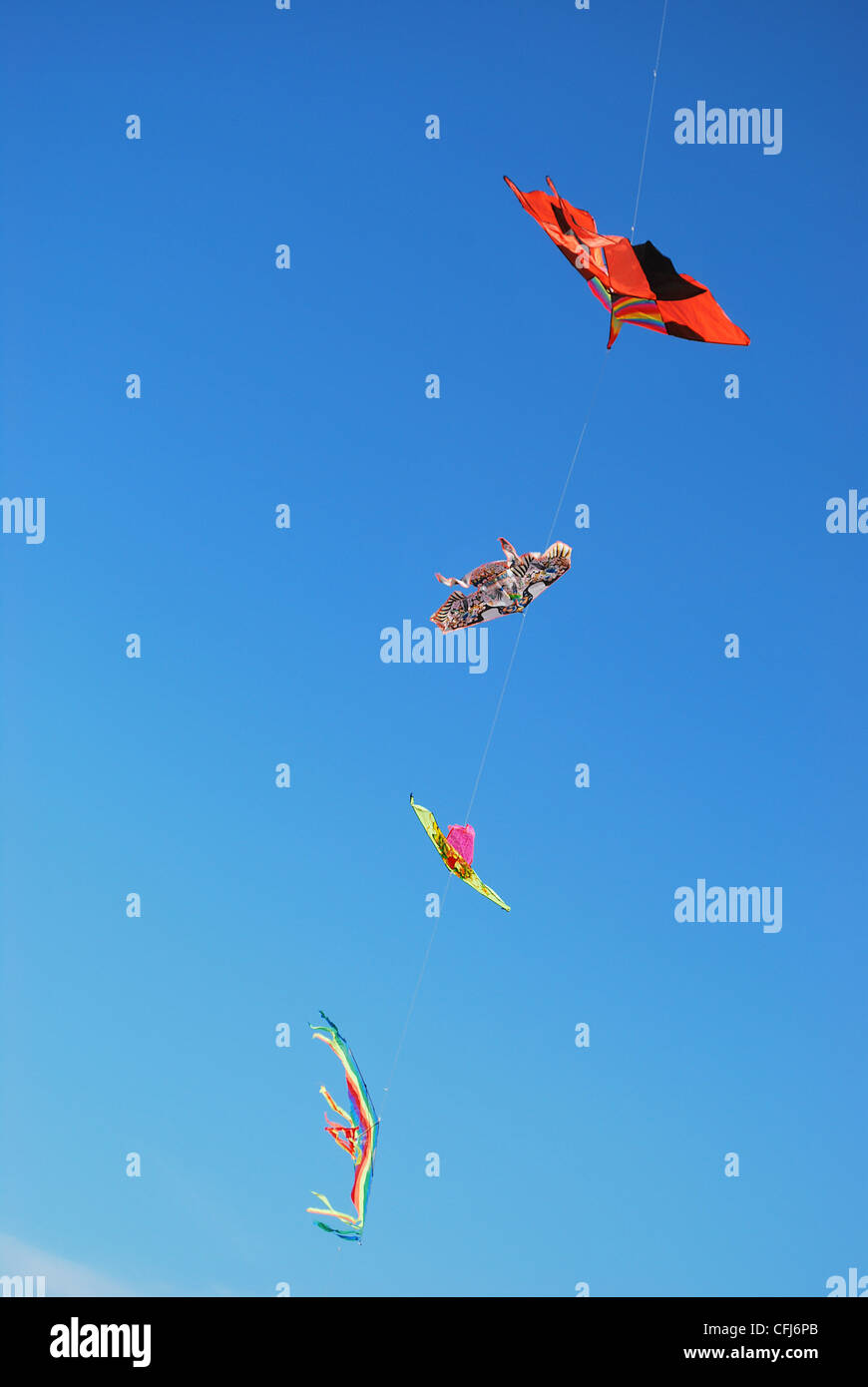 Series of colorful kites on blue sky, free space for text - Stock Image
