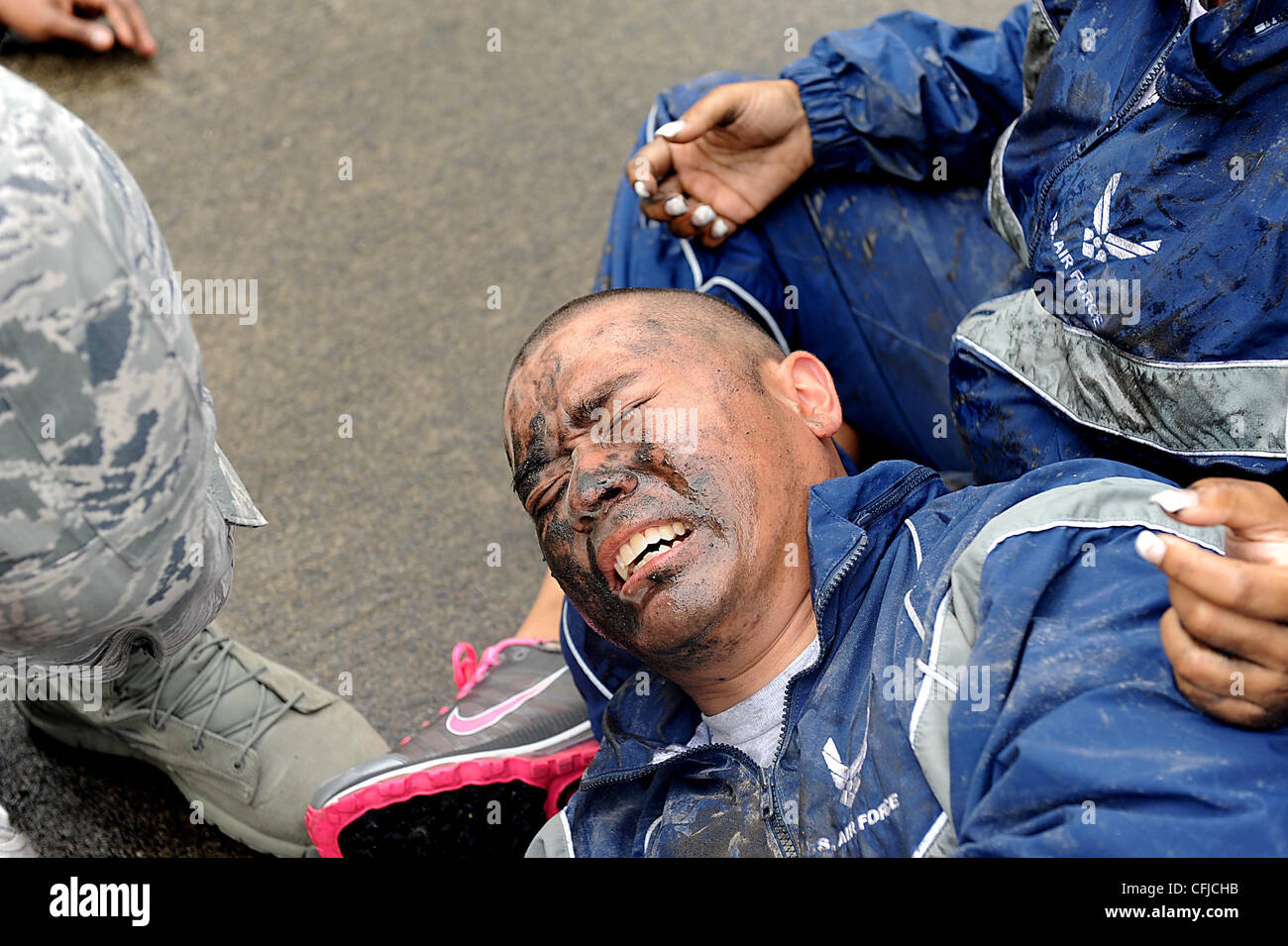 A simulated victim cries out in agony during a mass training exercise for local operational readiness exercise Beverly - Stock Image