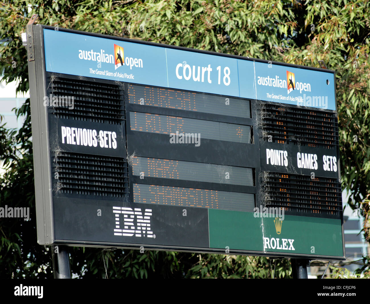 MELBOURNE, AUSTRALIA - JANUARY 21, 2012: Court 18 scoreboard shows a first set score from men's doubles January - Stock Image