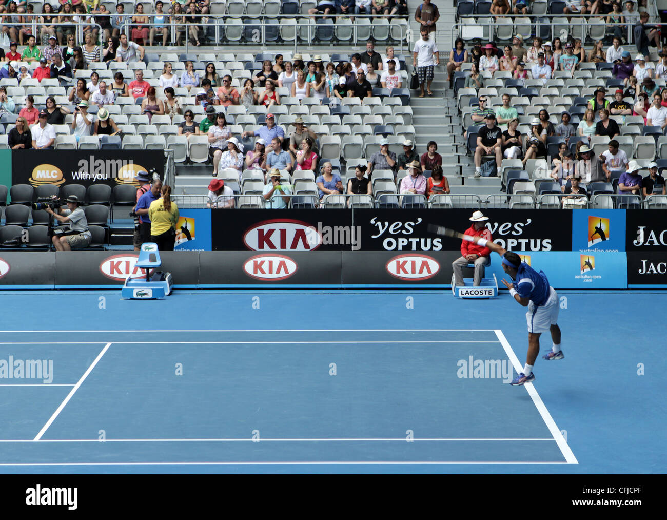 MELBOURNE, AUSTRALIA - JANUARY 20, 2012: ATP tennis player Frederico Gil serves against world number 5 player Jo - Stock Image