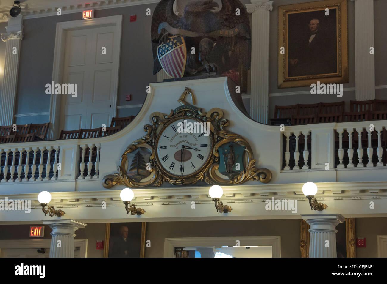 Antique Clock in Faneiul Hall, Boston, Massachusetts - Stock Image