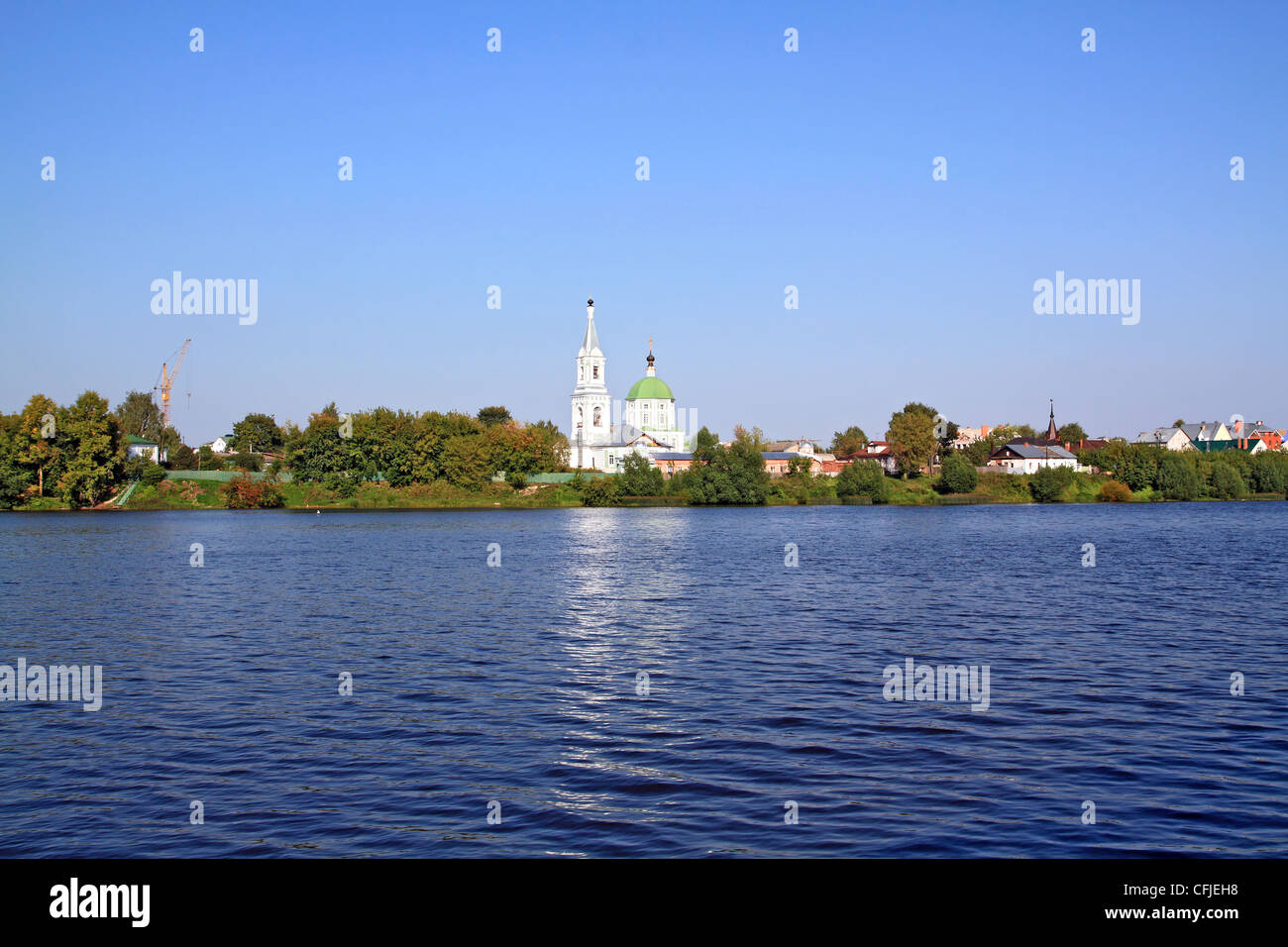 christian orthodox church on coast river - Stock Image